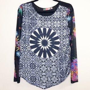 Desigual black patterned long sleeve sheer blouse